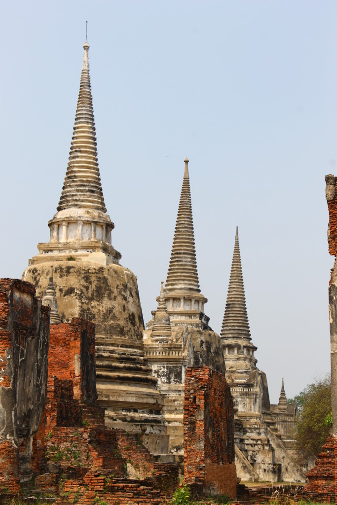 Three main chedis in Wat Phra Si Sanphet.