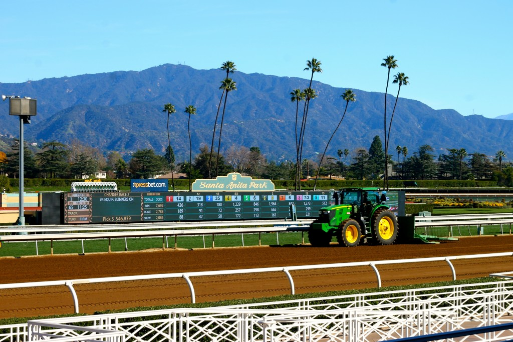 Tractors clearing the track before the races began.