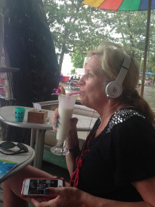 Mom with her $10 fake Beats headphones from the night market. Just jamming.