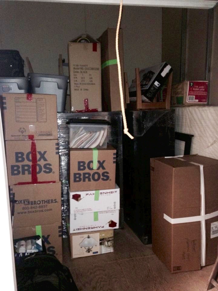My storage unit before the big purge. Now I don't know why I needed so much crap.