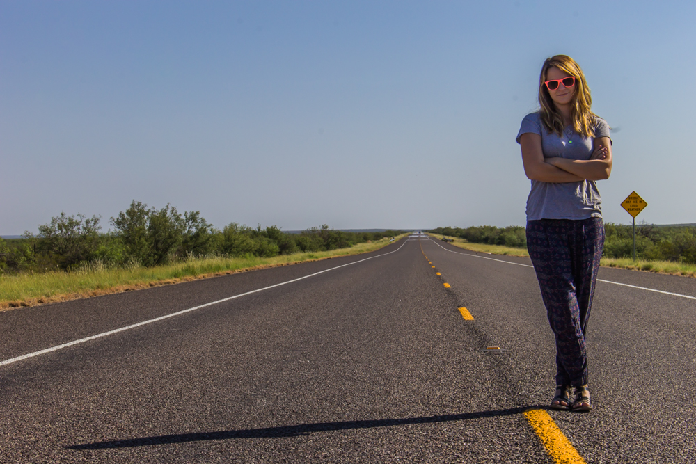 The straightest, longest, most empty road the Brit had ever seen. About 45 minutes north of Marfa, somewhere near Big Bend, TX.