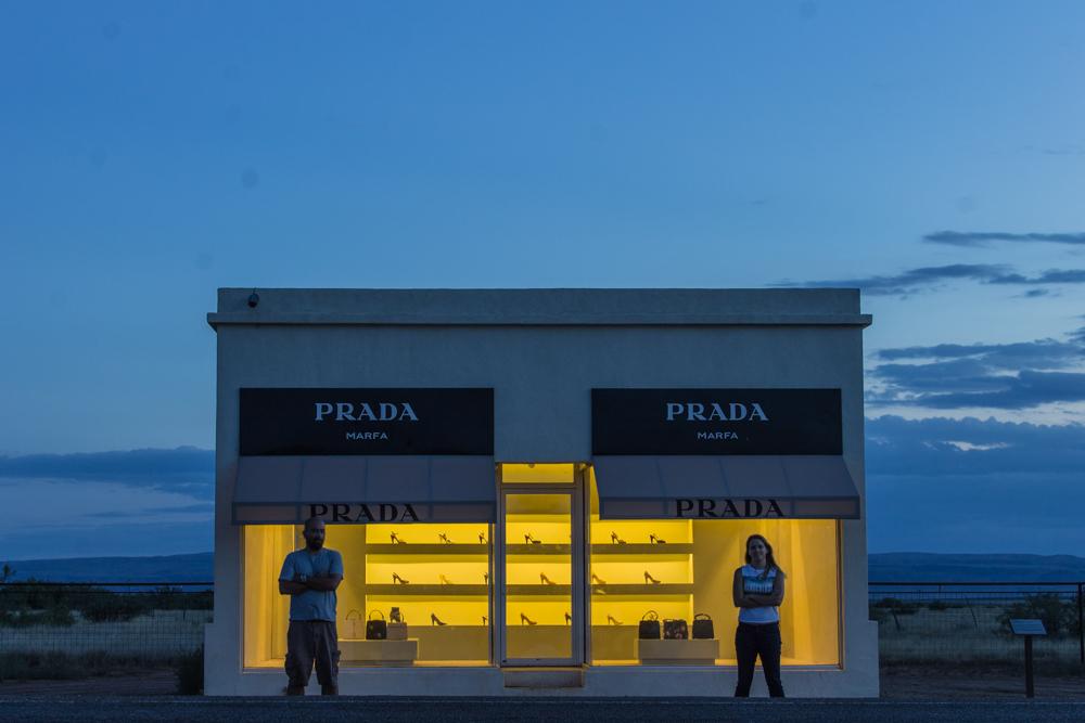 The Prada Marfa art installation just outside of Marfa, TX.