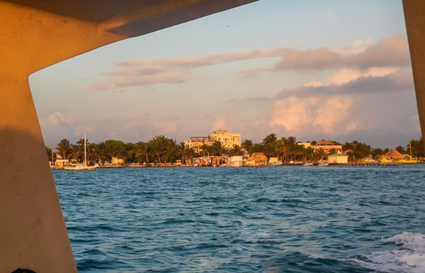 Caye Caulker in the morning sun as we speed towards the Blue Hole.
