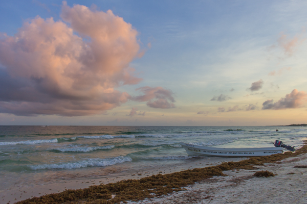 The sun setting in Tulum, near our beach bungalow. I can't believe this is going to be home for the next 8 nights.