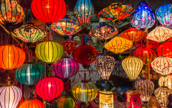 Hoi An is famous for it's lanterns. At night, the town is lit up thousands of them!