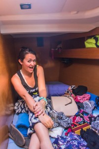 My friend Kate in the berth we shared.