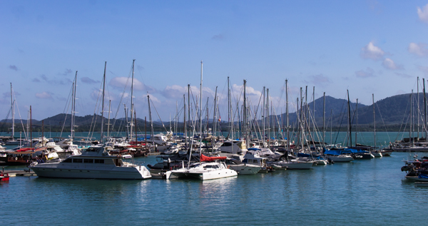 The yachts sit in Marina Haven, ready for the week ahead.