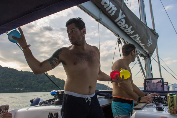 My friend Josh getting ready to pound another yacht with water balloons.