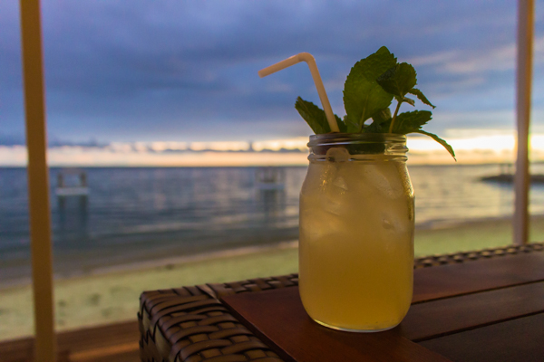 A cocktail on Sanur Beach at sunset.