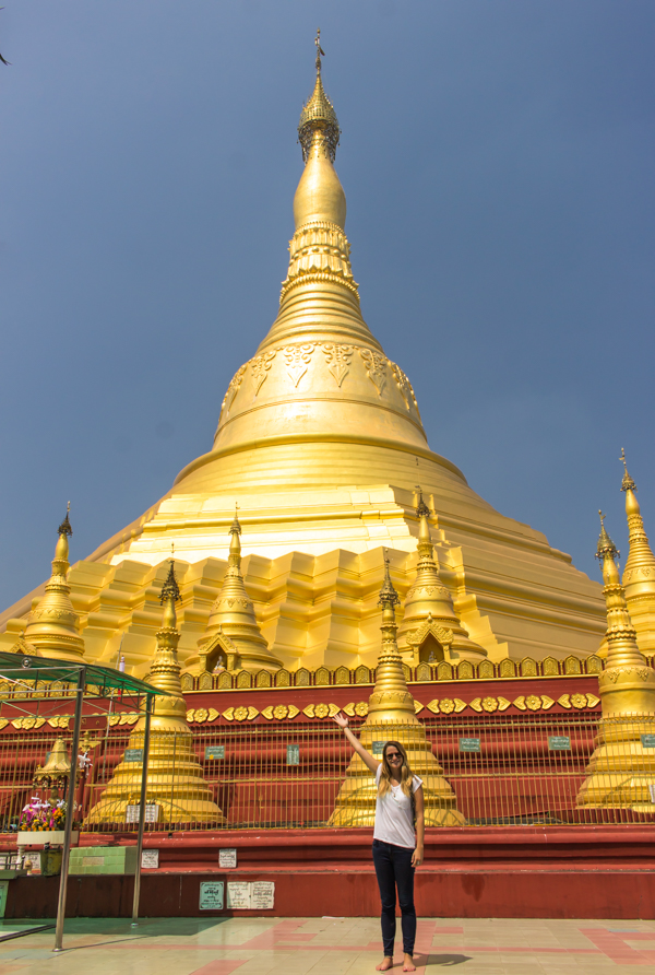 My first pagoda in Myanmar, near Twantay, a village outside Yangon. So bright you couldn't look straight at it in the sun!
