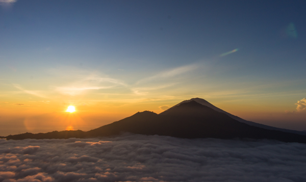 Just after sunrise on top of Mount Batur.