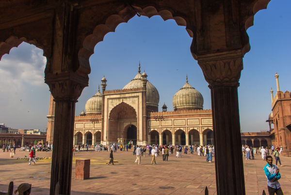 Jama Masjid, India's biggest mosque, was built by Shah Jahan, who also built the Taj Mahal. Gorgeous building!