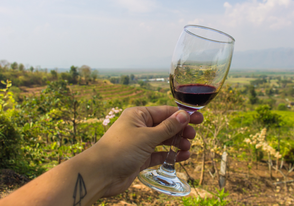 Tasting the wine at Red Mountain Estates Vineyards & Winery.