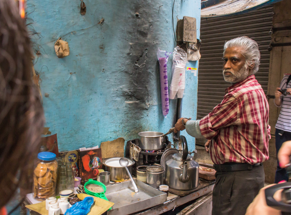 Had my first cup of masala chai tea from this guy in an alley way. I foresee many more!
