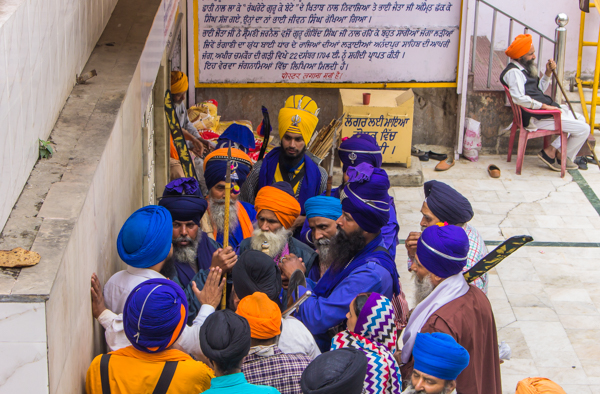 Sikhs having a discussion in Delhi.