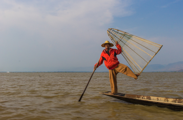 One of the Inle fishermen who posed for our benefit.