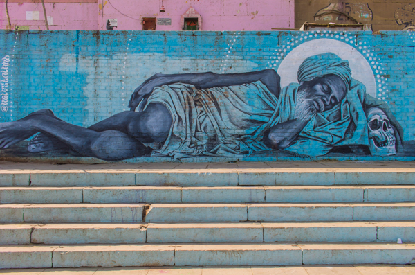 An awesome mural on the Ganges in Varanasi.