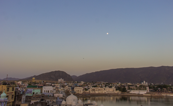 The holy city of Pushkar under a full moon.