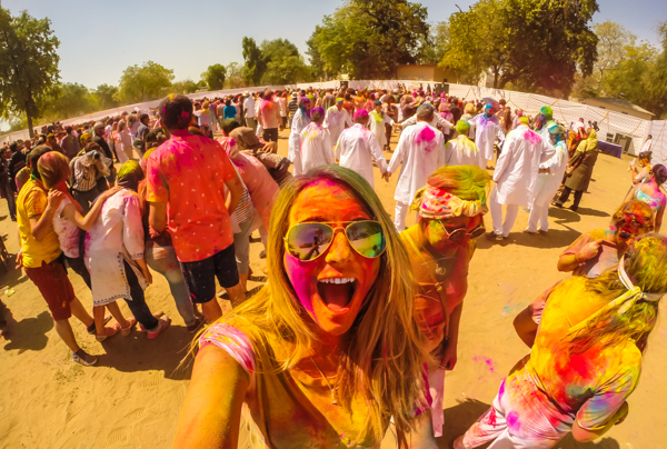 Celebrating Holi, the color festival, was one of the best days of my life. So. much. fun!