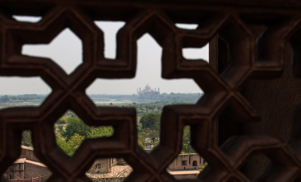The Taj Mahal from the Red Fort in Agra. This was my first glimpse of it!