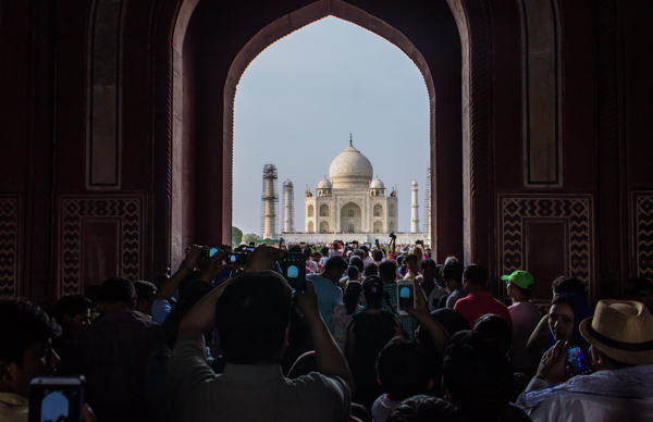 This is the spot where you first see the Taj after entering the gates. It was a madhouse when we arrived with everyone stopping to take photos instead of moving in. I've never been anywhere more crowded.