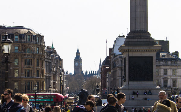 "This may not be the prettiest picture, but this was my absolute favorite view in London when I lived here years ago - the view of Big Ben down Whitehall from Trafalgar Square. So chuffed to see it again! (And yes, I said ""chuffed"".......I love that word.)"